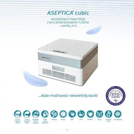 Zestaw Aseptica Cubic (biały) dezynfektor powietrza z filtrem UV.